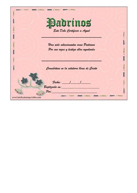 godparent certificate template godparents certificate template printable pdf