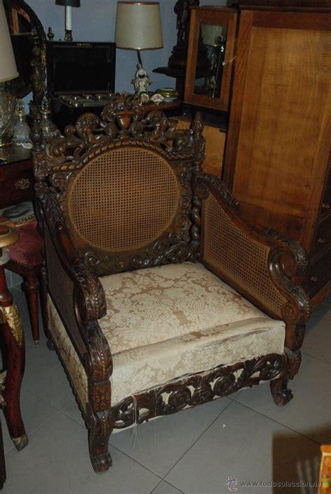 espectacular pareja de sillones de madera talla comprar - Sillones Antiguos