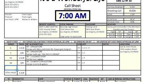 Casper Spreadsheet Template Makes Call Sheets And Production Reports Fast Easy And Free Call Sheet Template