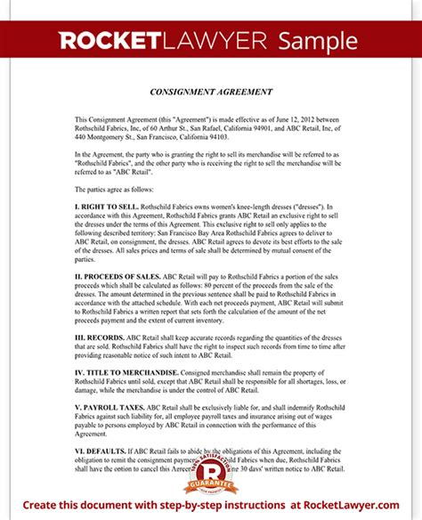 consignment agreement form consignment contract template