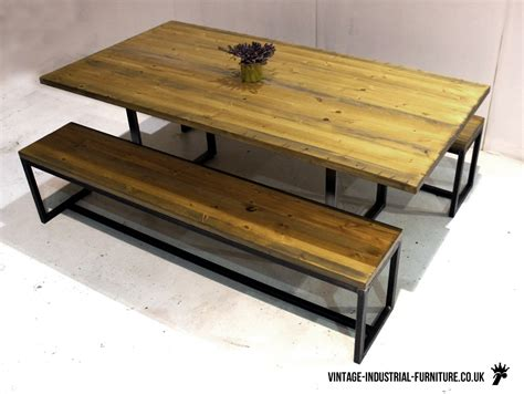 bench dining tables industrial loop leg dining table