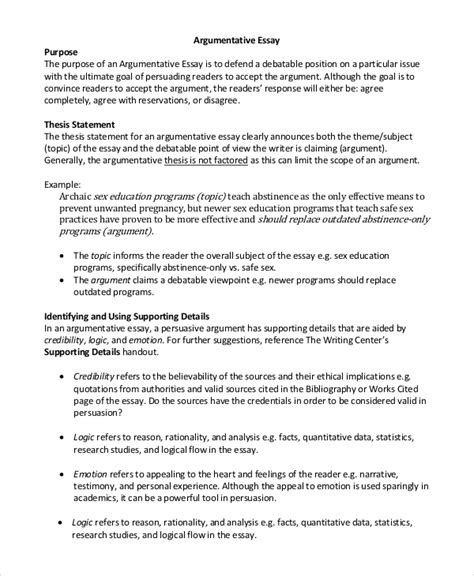 Exles Of A Thesis Statement For An Essay by Argumentative Essay Exle 9 Sles In Pdf Word