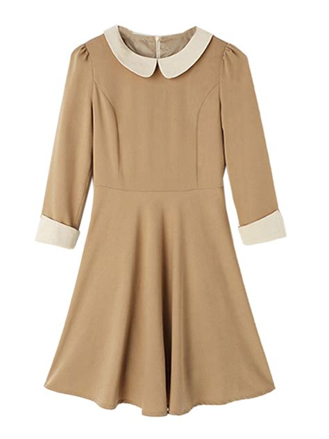 Panel A Line Dress beige pan collar panel a line dress more than 70
