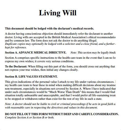 living will sles templates sle living will 7 documents in pdf word