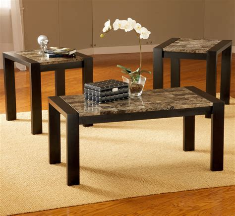 3 pc black faux marble coffee table set modern coffee