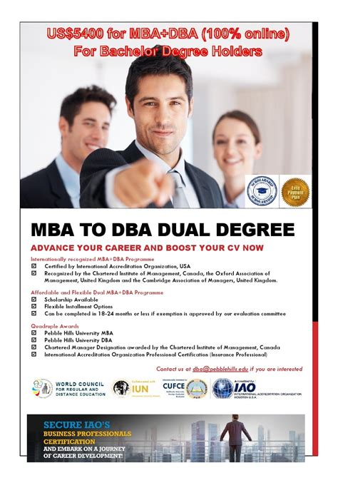 Aauburn Mba Dual Degree Program by Mba Dba Dual Degree Program For Bachelor Degree Holders