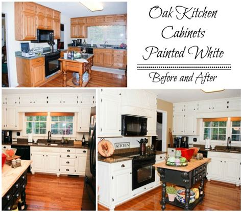 painting oak cabinets white before and after remodelaholic from oak kitchen cabinets to painted white 552 | Painted White Oak Cabinets Before and After