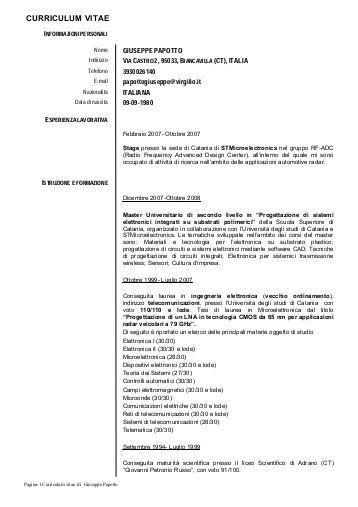 Formato Europeo Curriculum Vitae Compilato Formato Europeo Per Il Curriculum Vitae Istituto Clinico Citt 195 Studi