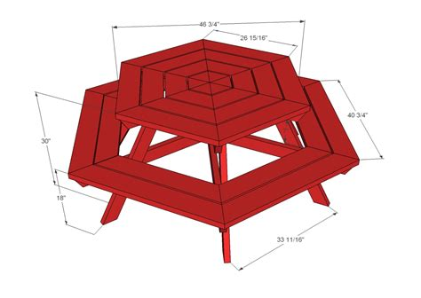 picnic bench dimensions workhome idea hexagon picnic table blueprints