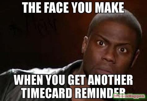 Timecard Meme - the face you make when you get another timecard reminder