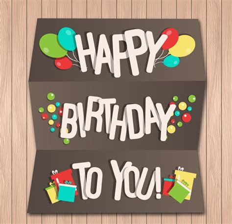 Creative Ideas To Wish Happy Birthday Creative Folding Birthday Cards Vector Graphics My Free