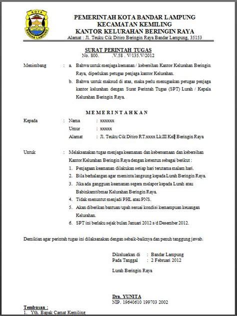 Surat Izin Pns Tidak Masuk Dinas by Contoh Surat Perintah Tugas Spt Untuk Menjaga Keamanan