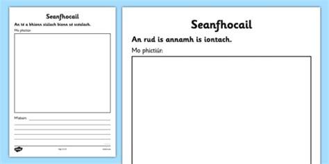 lesson plan template gaeilge irish gaeilge seanfhocail to illustrate and explain activity