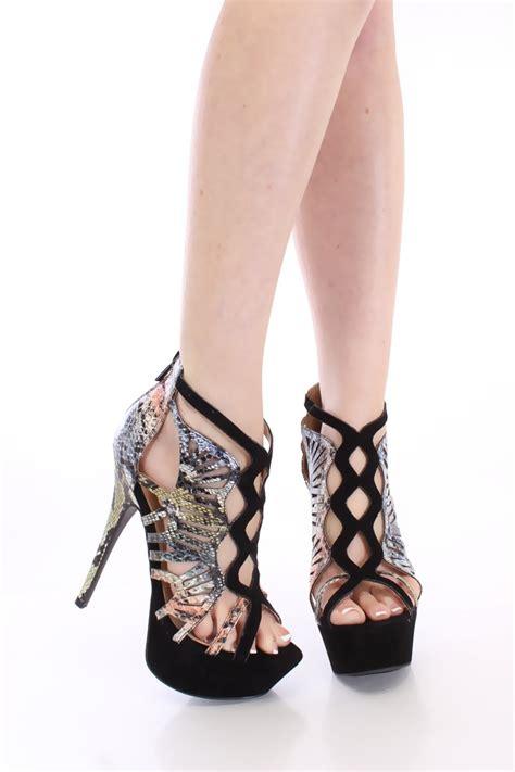 black gladiator high heels color block snake print high heels gladiator sandals black