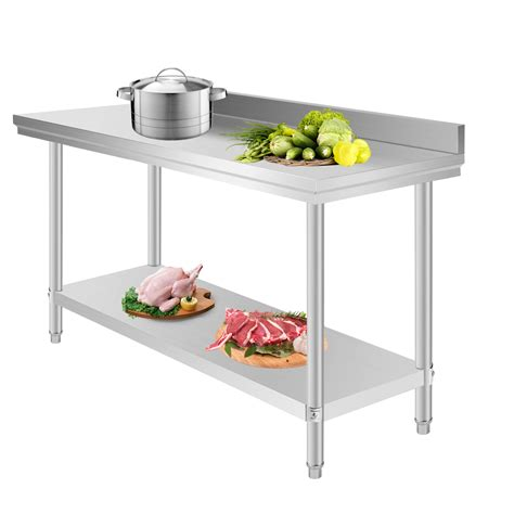 Kitchen Stainless Steel Table 1524x610mm Stainless Steel Work Prep Table W Backsplash Kitchen Restaurant New Ebay