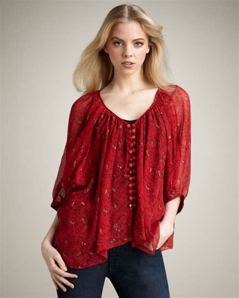 Witer Blouse By winter kate tiger blouse crimson in animal lyst
