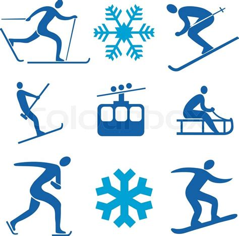 winter sports symbols stock vector colourbox