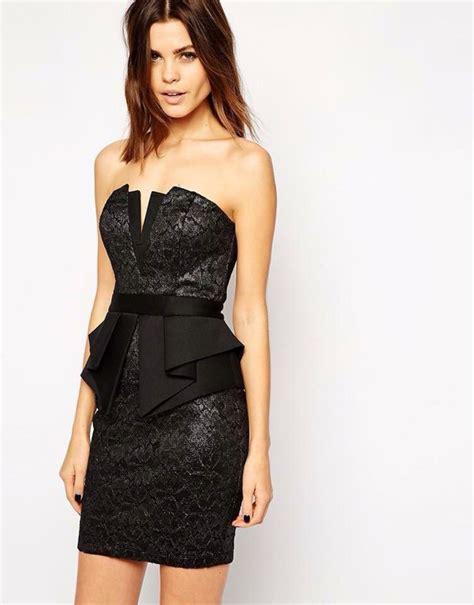 Mini Dress Ucansee Hitam Sequin lipsy metallic lace bandeau mini dress with peplum waist