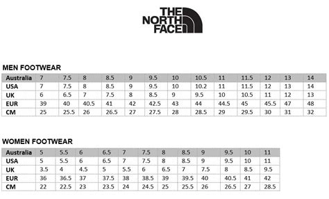 shoe size chart north face north face shoes black the north face sale clearance