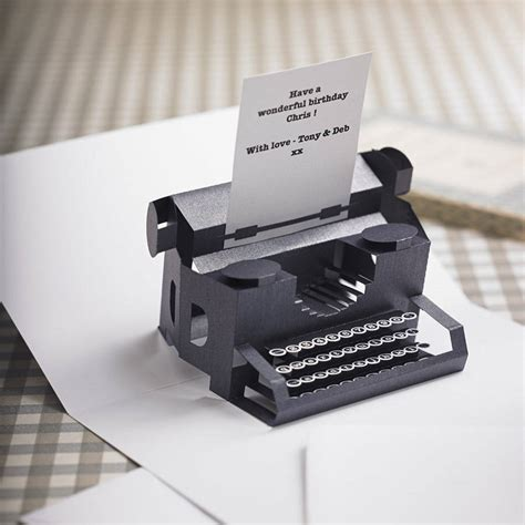 typewriter pop up card template personalised typewriter pop up card by paperfiction