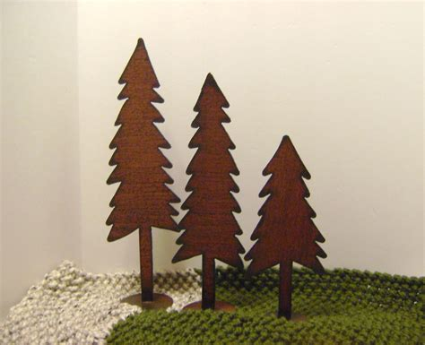 trees set of 3 metal trees large shelf trees winter