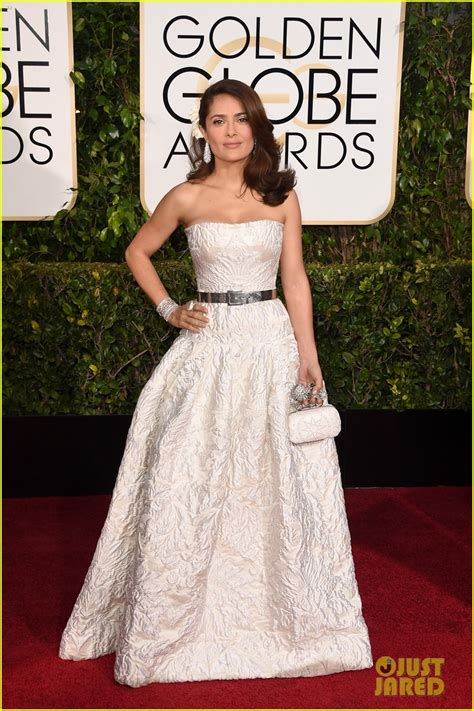 White At The Golden Globes by Salma Hayek Is The In White At The Golden Globes 2015