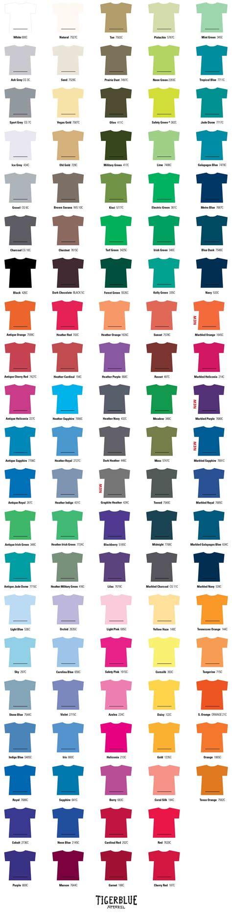 colors t t shirt color chart