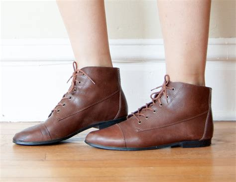 sale vintage brown leather flat ankle boots size 7 5 by