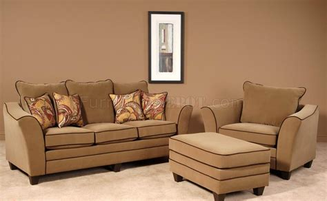 Walnut Fabric Modern Sofa & Chair Set w/Options