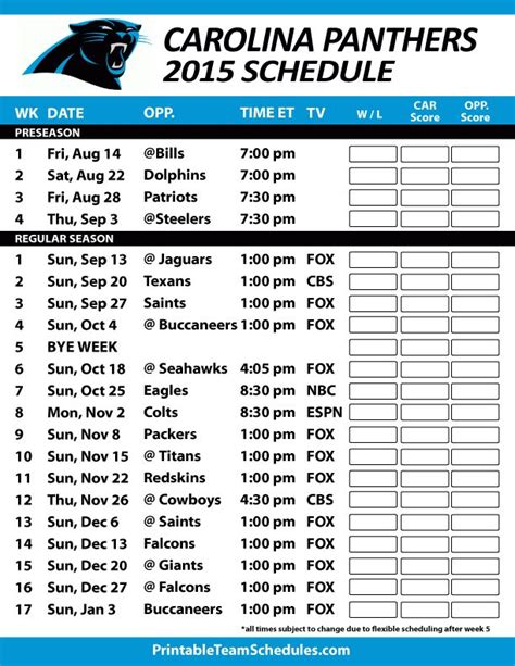 printable nfl team schedule 17 best ideas about carolina panthers schedule on