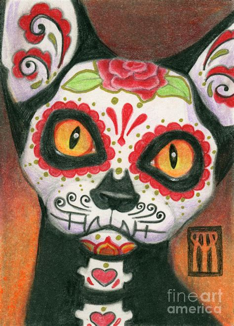 dead cat painting day of the dead cat painting by a benson