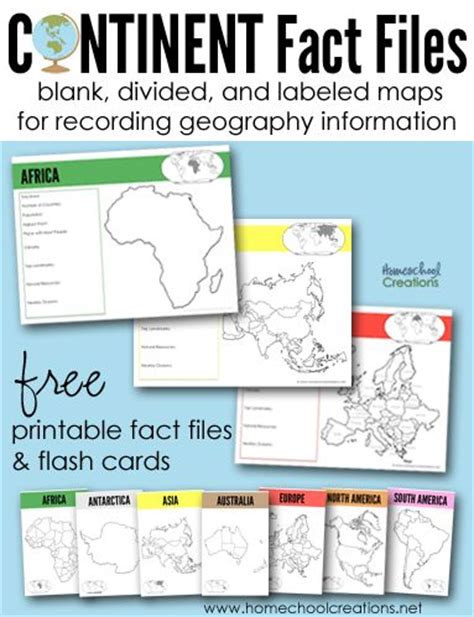continents fact files printable geography printables