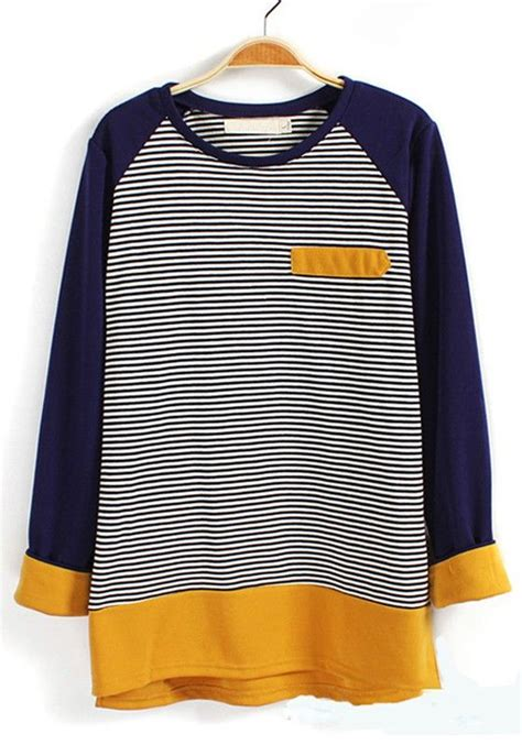 Cici Dress Pocket yellow striped pocket sleeve cotton blend t shirt