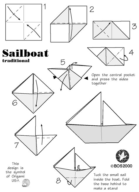 Origami Sailboats - bos practical sailboat