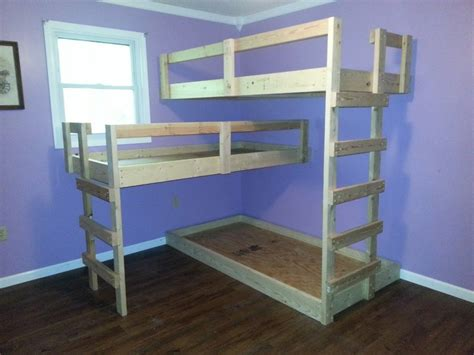 how to make a bunk bed diy triple bunk bed perfect for when the kids are older
