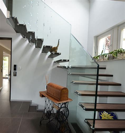 unique stairs design modern magazin custom floating stair quater turn modern staircase
