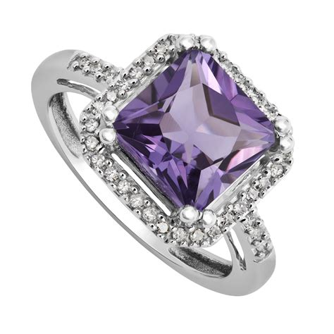 9ct white gold cushion cut amethyst and ring