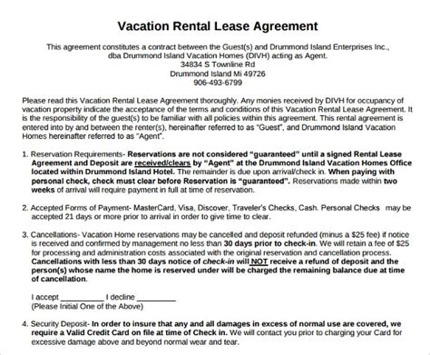 Vacation Rental Agreement 8 Download Documents Free In Pdf Word Condo Rental Lease Template