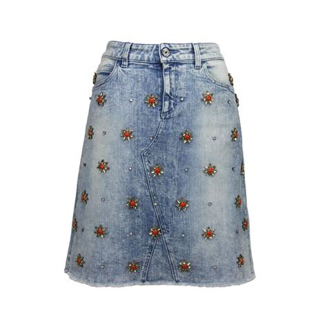 new gucci embellished stretch denim skirt at 1stdibs
