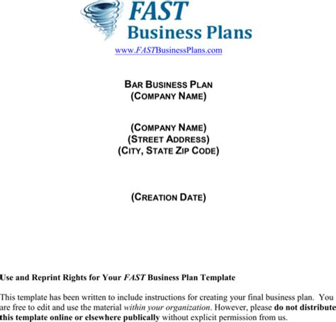 download bar business plan template for free formtemplate