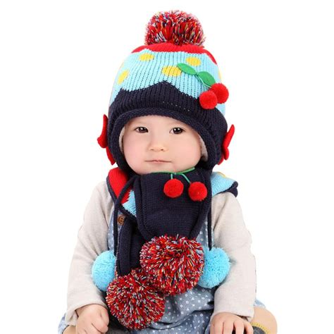 Topi Bayi 5 In 1 baby hat 2016 winter baby wool hat hooded scarf earflap knit cap toddler newborn baby