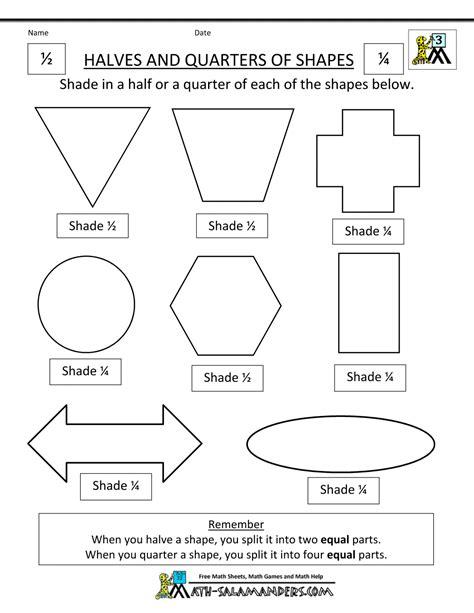 printable half and quarter worksheets fraction shape worksheets