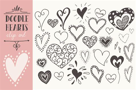 free doodle hearts doodle hearts clip graphics on creative market