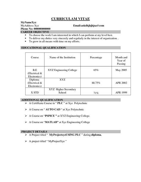 Sle Resume For Freshers It Engineers sle resume for freshers it 28 images 100 resume format