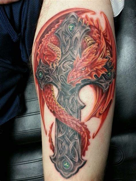 cross celtic dragon tattoo tattoos pinterest celtic