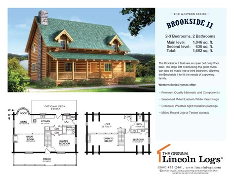 lincoln log homes floor plans log home floorplan brookside ii the original lincoln logs
