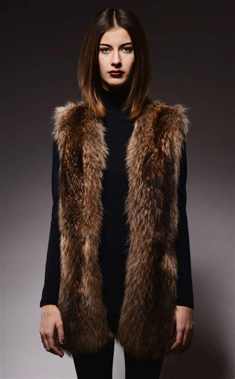 with fur vest silver brown raccoon fur vest vests faux fur and brown
