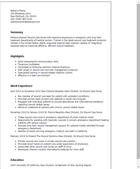 1 Wound Care Nurse Resume Templates Try Them Now Myperfectresume Wound Care Documentation Template