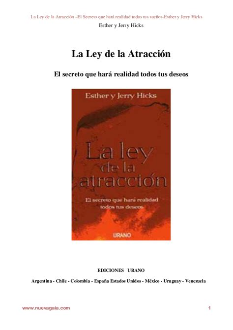 libro la ley de los libro la ley de atraccion esther y jerry hicks
