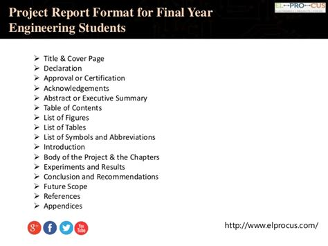 project report sle for engineering students project report format for year engineering students
